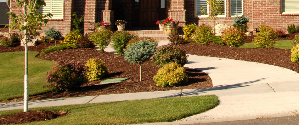 A residential property located in Lowell, MI that we recently installed mulch at.
